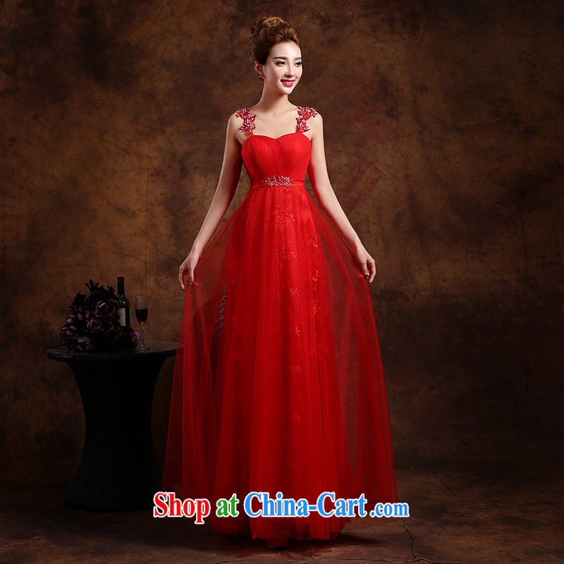 Wei Qi 2015 new summer wedding dress toast Service Bridal lace long dress girls banquet Evening Dress evening dress shoulders the Code Red XXL