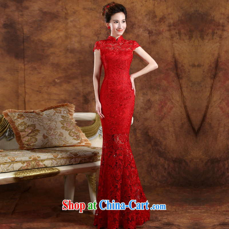 Sophie AIDS nowhere than serving stylish summer 2015 New Red dress long crowsfoot cultivating a qipao field shoulder bridal wedding dress uniform toast red M