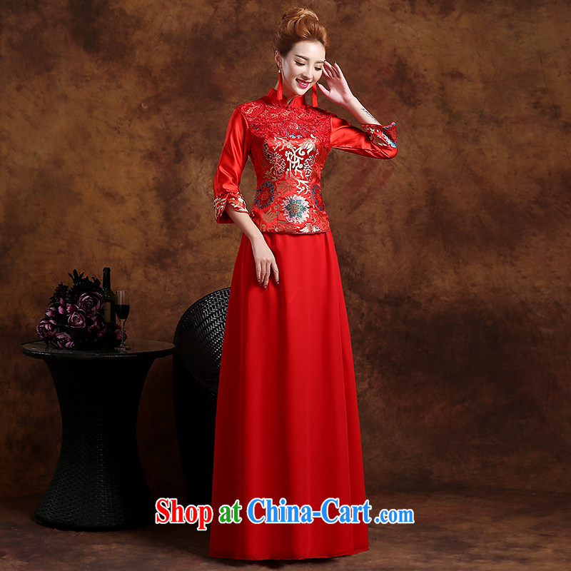 Wei Qi 2015 new marriages improved cheongsam stylish summer toast long-sleeved clothing Chinese wedding dress red XXL