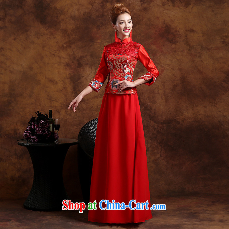 Wei Qi 2015 spring and summer new wedding dresses bridal wedding toast service improved cheongsam long-sleeved style improved red XXL