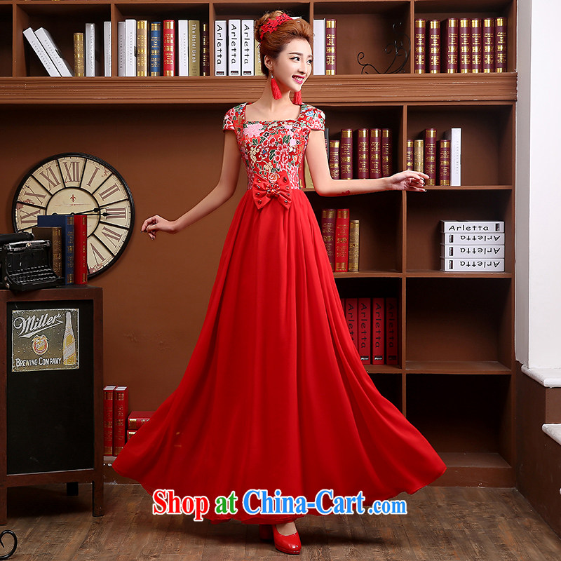 Qi wei served toast summer 2015 new bridal dresses long dresses red wedding toast clothing retro beauty dress square collar ball red L