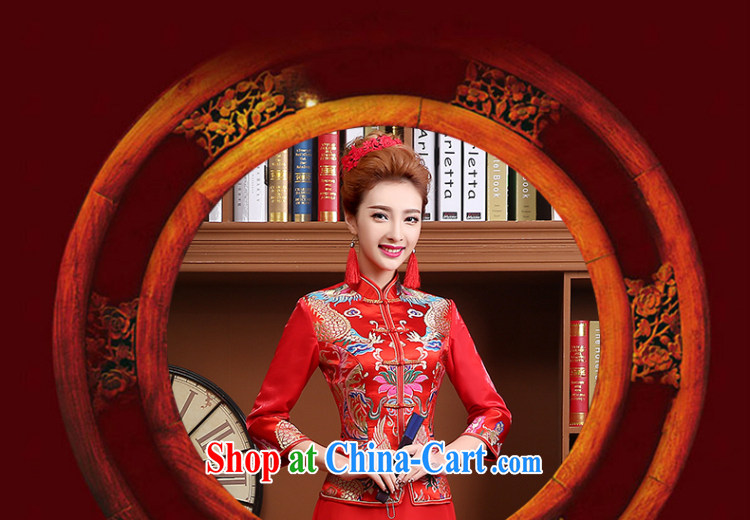 Wei Qi 2015 new summer new bridal dresses long sleeved retro red toast clothing cheongsam Chinese long wedding dress red XXL pictures, price, brand platters! Elections are good character, the national distribution, so why buy now enjoy more preferential! Health