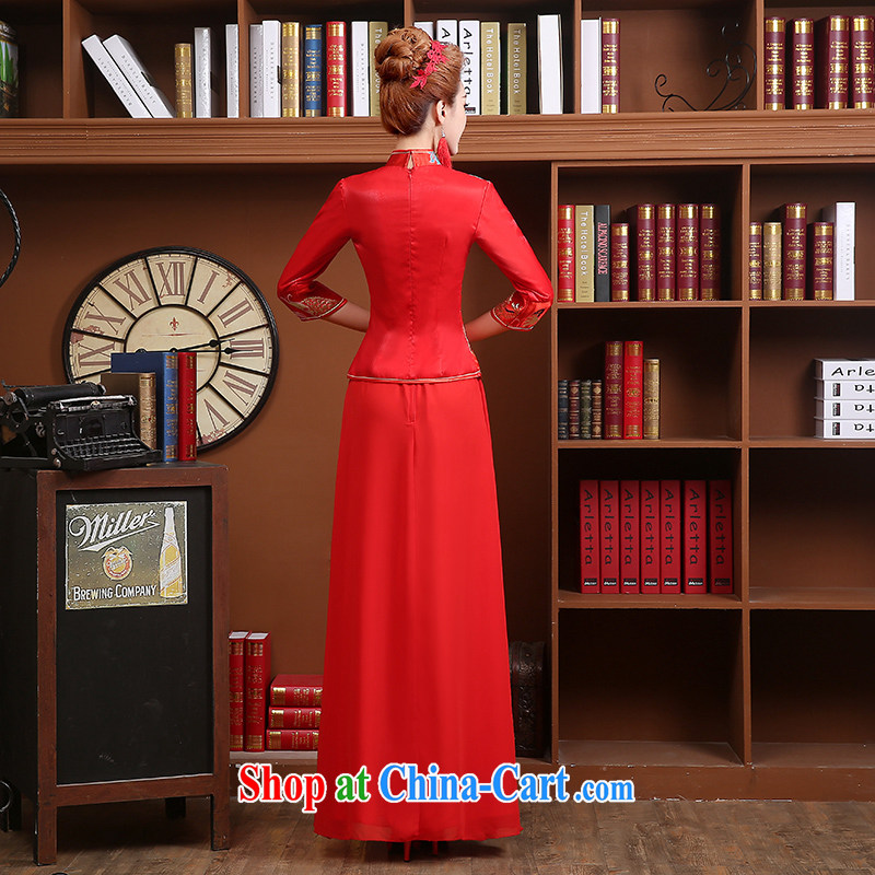 Wei Qi 2015 new summer new bridal dresses long sleeved retro red toast clothing cheongsam Chinese long wedding dress red XXL, Qi wei (QI WAVE), online shopping