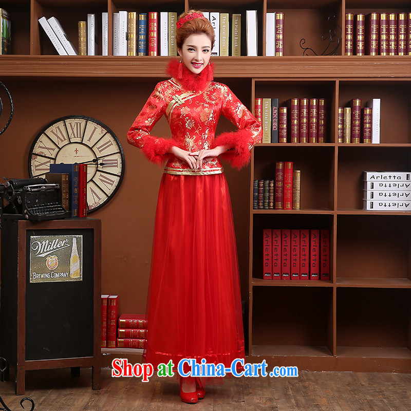 Wei Qi toast Service Bridal Fashion 2015 summer New Red wedding dresses fall long-sleeved Chinese Dress Long Red Beauty XXL