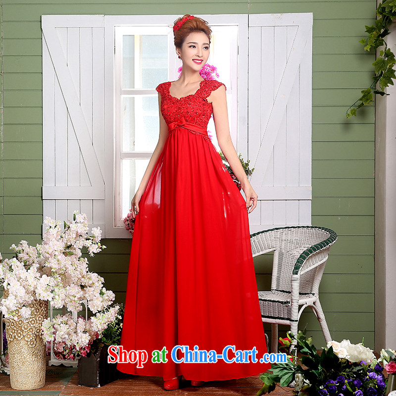 Wei Qi marriages wedding dresses 2015 new summer Korean red Long Female banquet Evening Dress evening dress uniform toasting red XXL