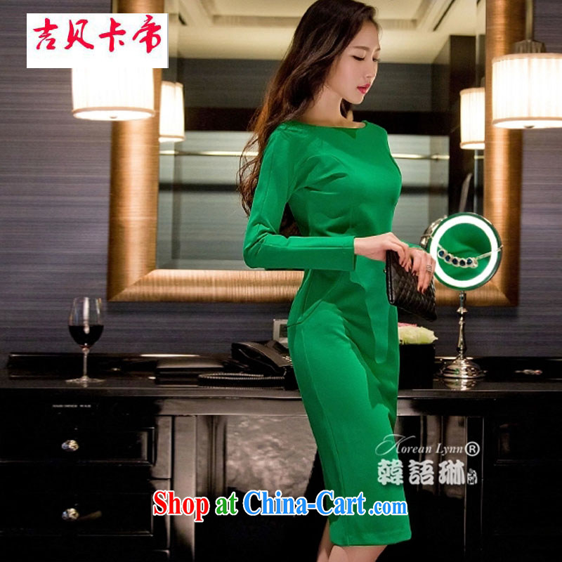 The Bekaa in Dili autumn and winter dress sense of the word for name-yuan beauty aura long-sleeved dress long skirt green are code