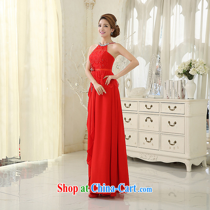 Evening Dress bridal toast service 2015 summer new champagne color red long-also Graphics thin beauty bridesmaid dresses dress new promotions throughout the red. size 5 - 7 day shipping