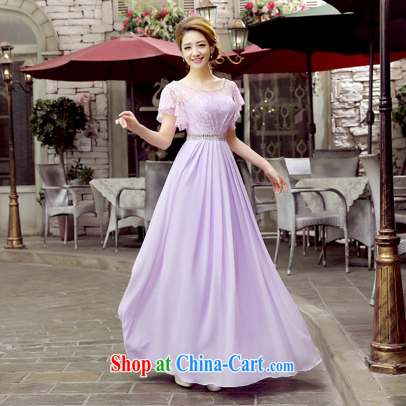 Wedding dress 2015 new bride toast service banquet service lace long cultivating red evening dress Evening Dress dress bridal new products bundle mail light purple. size 5 - 7 day shipping