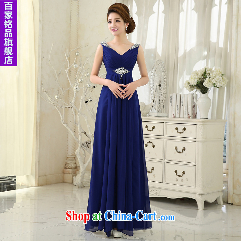 wedding dresses 2015 New royal blue Deep V collar lace long dress marriages served toast bridesmaid dress etiquette presided over his genuine promotional package mail Po blue XXL