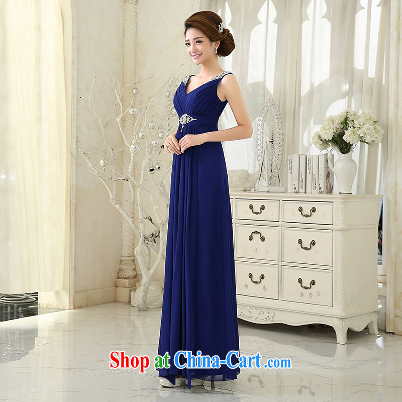 wedding dresses 2015 New royal blue Deep V collar lace long dress bride wedding toast clothing bridesmaid dress the ceremonial uniforms and promotional package mail Po blue XXL, 100 Ka-ming, and shopping on the Internet