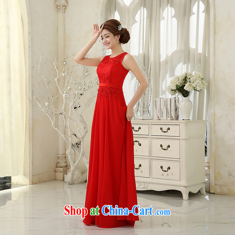 Evening Dress dress bridal wedding toast clothing 2015 new lace round-collar video slim, evening dress bridesmaid moderator dress female new national package mail Red. size 5 - 7 day shipping