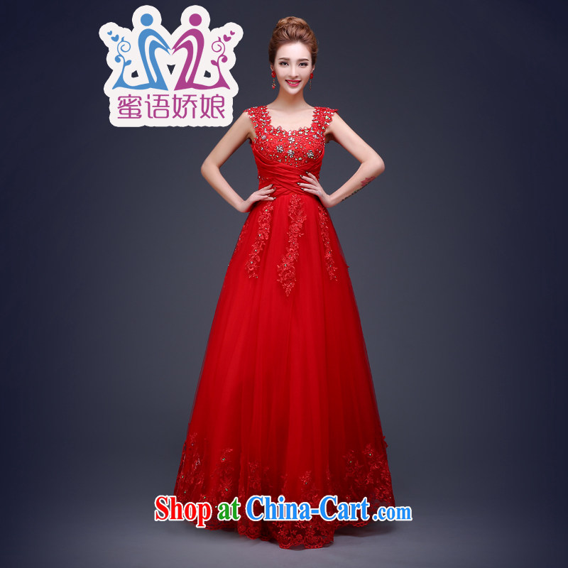 Honey, bride bridal gown red bows service 2015 new long-field shoulder for Korean high-waist pregnant women the Code Red XL