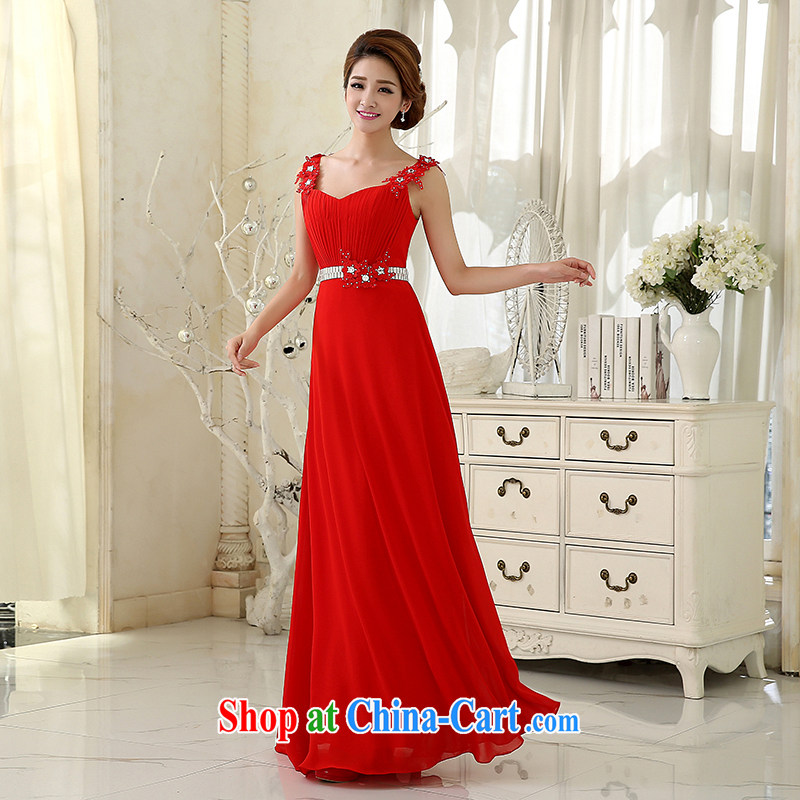 2015 new wedding dresses serving toast bride marriage and stylish wood drill cultivating the waist pink Evening Dress long bridesmaid's dress and package mail Red. size 5 - 7 day shipping