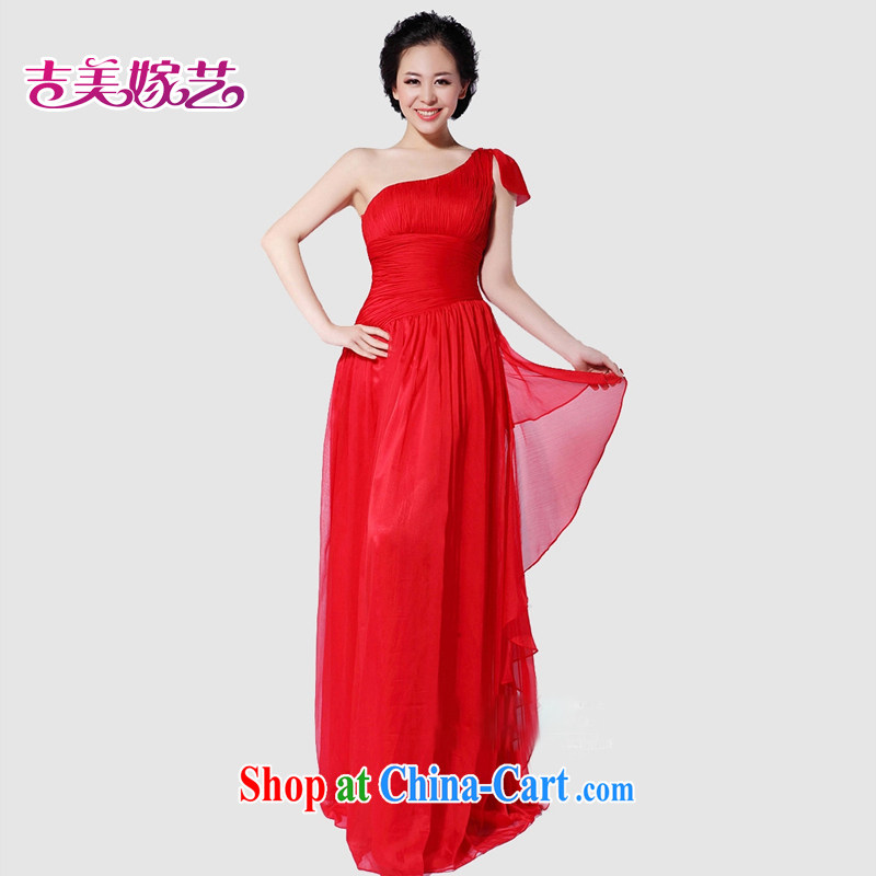 wedding dresses, marry us performing arts 2015 new single shoulder Korean bridal gown tail LS 993 bridal gown red 4_