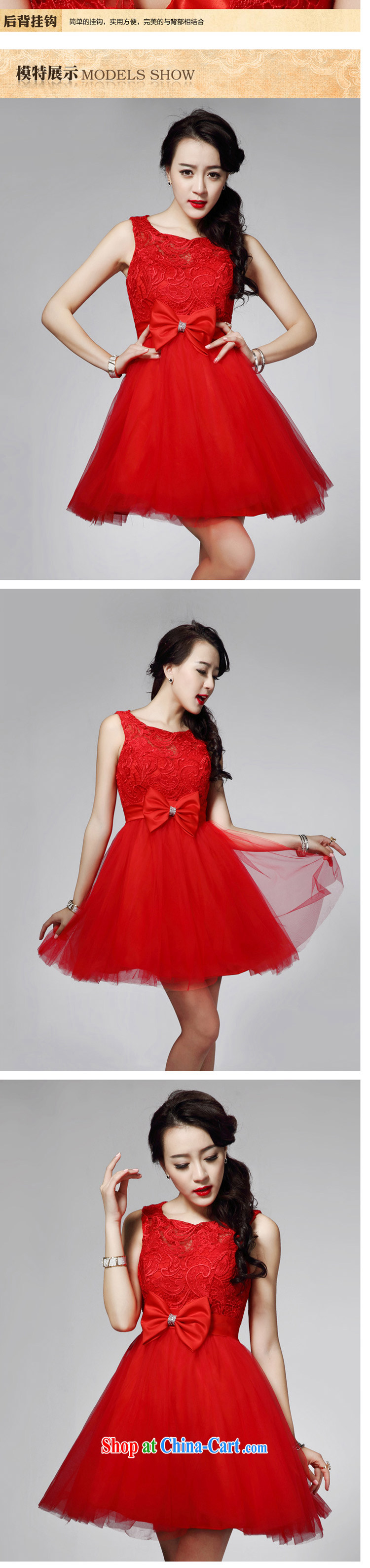 LED color red bow tie small dress lace sexy Princess bridesmaid dress short of red M pictures, price, brand platters! Elections are good character, the national distribution, so why buy now enjoy more preferential! Health