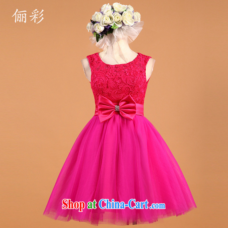 LED color red bow tie small dress lace sexy Princess bridesmaid dress short of red M