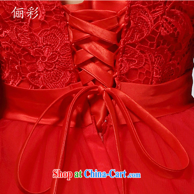 LED color red bow-tie small dress lace sexy Princess bridesmaid dress, short of red M, an MMS message (LICAI), shopping on the Internet