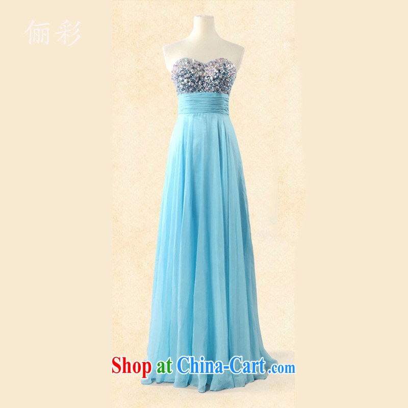 An MMS message colorful water drill dress snow woven long skirt style evening dress bridesmaid clothing dresses Lake blue XL