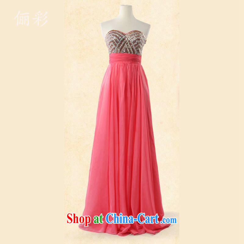 LED color long skirt dress lady Reception Banquet Evening Dress 100 hem dresses watermelon red XL