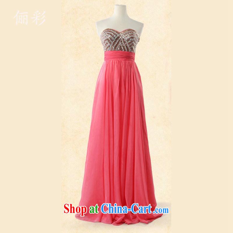 LED color long skirt dress lady Reception Banquet Evening Dress 100 hem dresses watermelon red XL