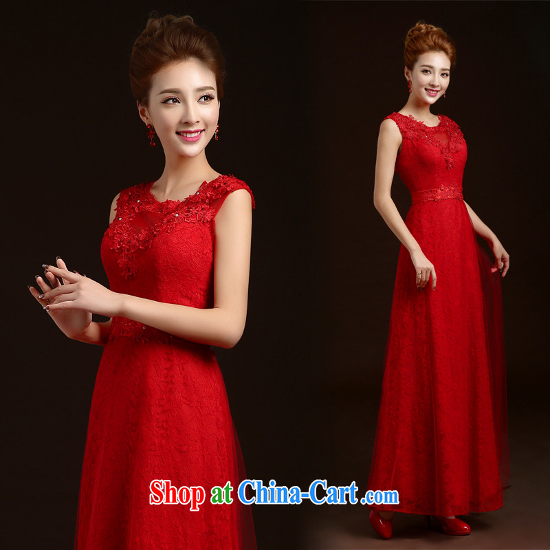 wedding dresses new 2015 winter bridal red bows beauty service annual meeting banquet dress long wedding dress small tail wedding dresses red L