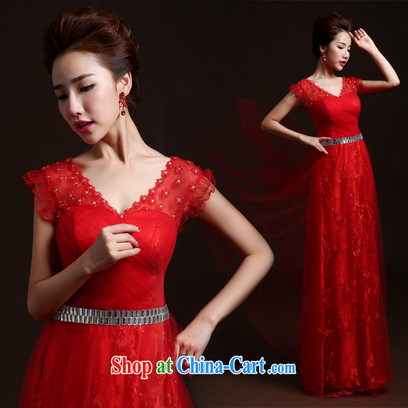 Winter bridesmaid dresses new 2015 red bows Service Bridal Fashion wedding banquet Annual Meeting Evening Dress long, cultivating small tail bridesmaid dress uniform toast red L