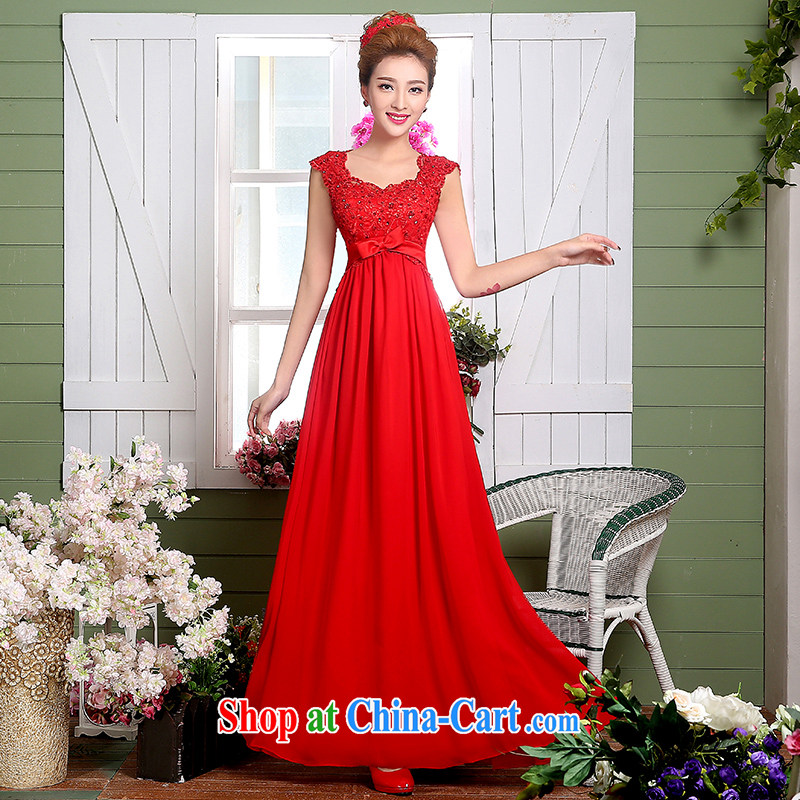 The Vanessa serving toast bride summer 2015 new wedding dress a Field double-shoulder dress red long strap banquet dress party annual graduation dresses red XL (stylish straps stereo-lumbar)