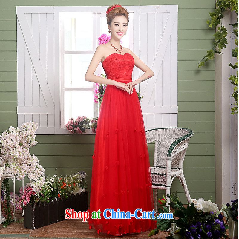 The Vanessa serving toast bride summer 2015 New Red wedding dress long wiped his chest annual banquet dress zipper cultivating graphics thin alignment to dress female Red XL _red long, elegant with_