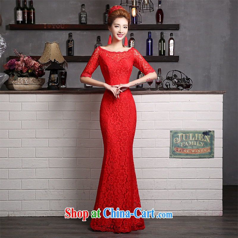 The Vanessa toast Service Bridal Fashion summer 2015 new crowsfoot banquet dress bridal wedding dress beauty a field double-shoulder red dress, red ball XL (the necklace earrings)