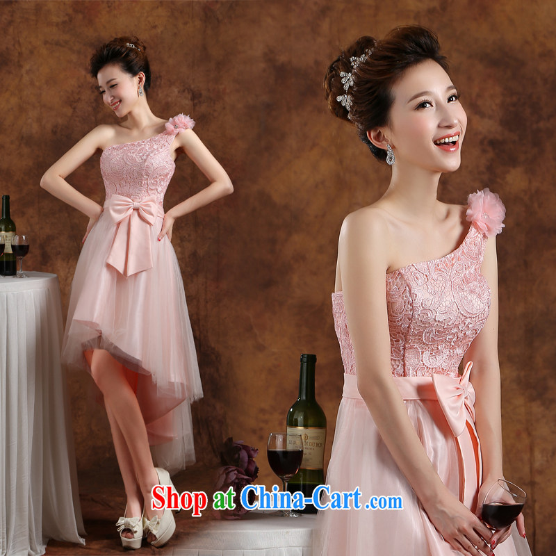 bridesmaid clothing dress fashion bridesmaid dress 2015 new wedding toast dress uniform winter short, accompanied by her sister in her annual meeting banquet moderator dress pink S