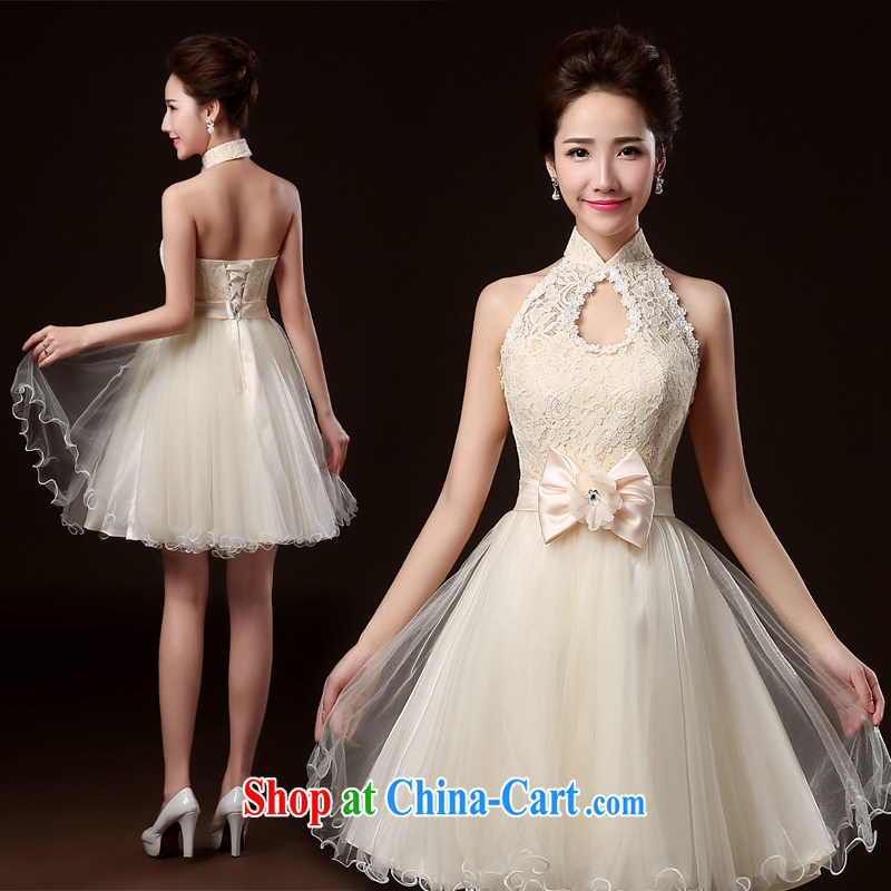 100 the ball bridesmaid dress new 2014 Winter Fashion bridesmaid dress service banquet hosted annual dress short bridesmaid's sister dress bridesmaid dresses serving champagne color S