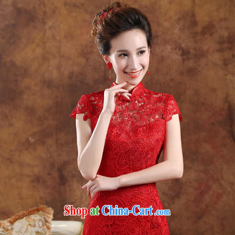 2015 new stylish bridal toast dress uniform a Field shoulder crowsfoot beauty bridal wedding toast serving long, annual red dress red M