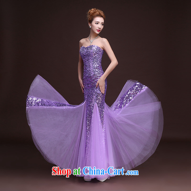 Wei Qi gold Evening Dress bridal toast serving New 2015 summer long stylish erase chest dress crowsfoot cultivating the annual meeting banquet dress dancing light purple L