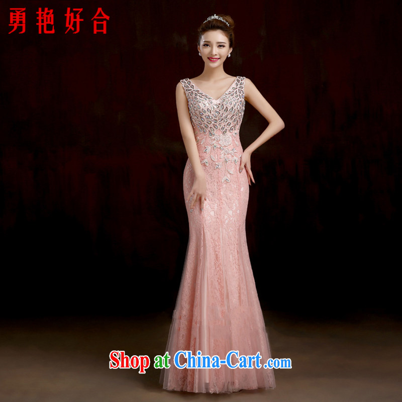 Yong-yan and stylish 2015 toast serving long-field shoulder-tail dress retro high-end crowsfoot dress uniforms dress the pink. size color will not be returned.
