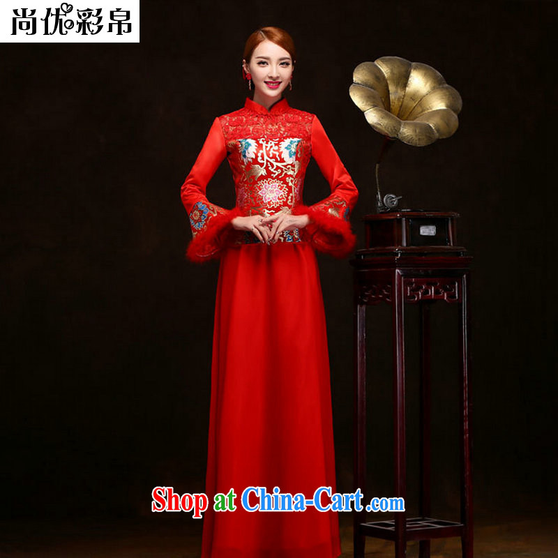 There are optimized color Kingfisher red bows Service Bridal long 2014 new marriage, marriage wedding dress long-sleeved qipao Autumn and Winter load YSB 2083 red XXL