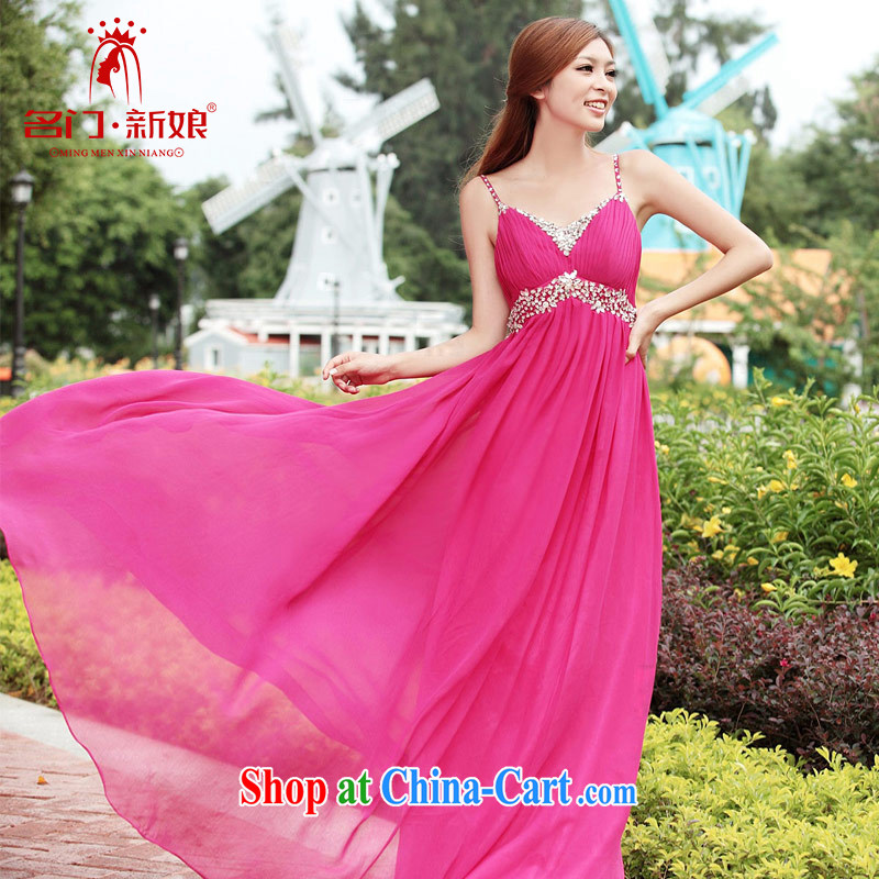 The bride's wedding dresses bows Service Bridal Fashion Korean long gown Evening Dress 280 rose red M
