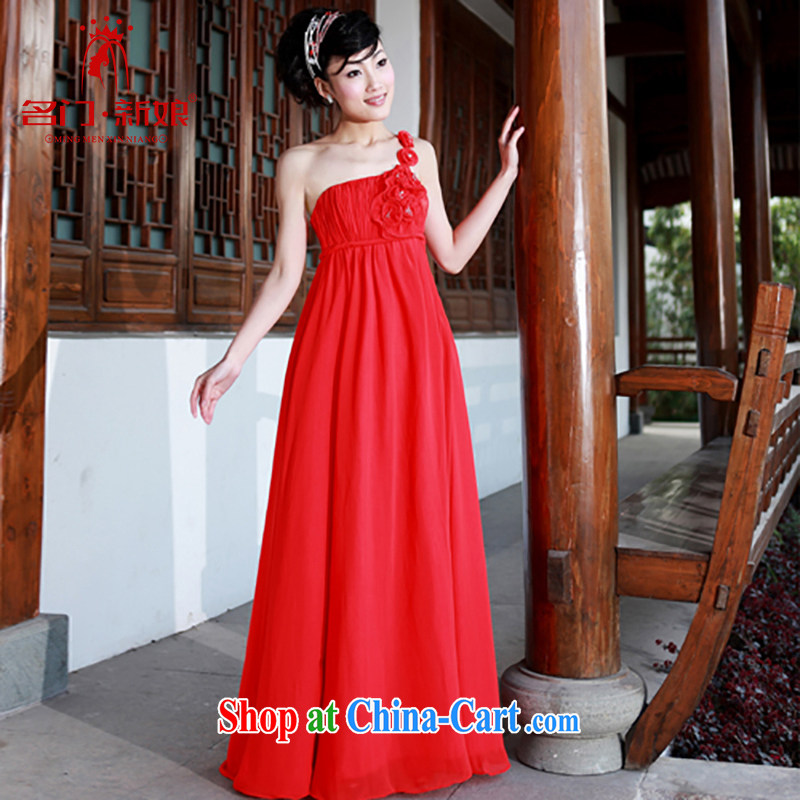 The bride's wedding dresses red dress single shoulder wedding dress wedding dress toast 783 L