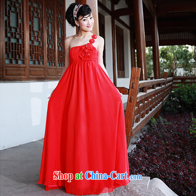 The bride's wedding dresses red dress single shoulder wedding dress wedding dress toast L 783, a bride, and shopping on the Internet