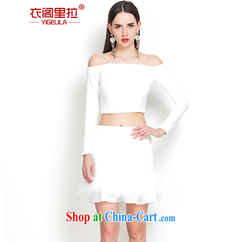 Yi Ge Theo-Ben Gurirab of aristocratic ladies temperament a bare shoulders dress bridesmaid banquet party show small dress skirt split Kit 7163 + 5151 white package L