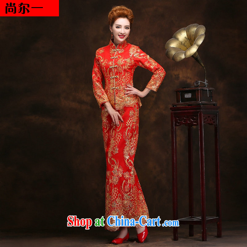 New improved retro sexy lace wedding dresses winter wedding toast serving long, long-sleeved gown cheongsam YY 2093 red XXL