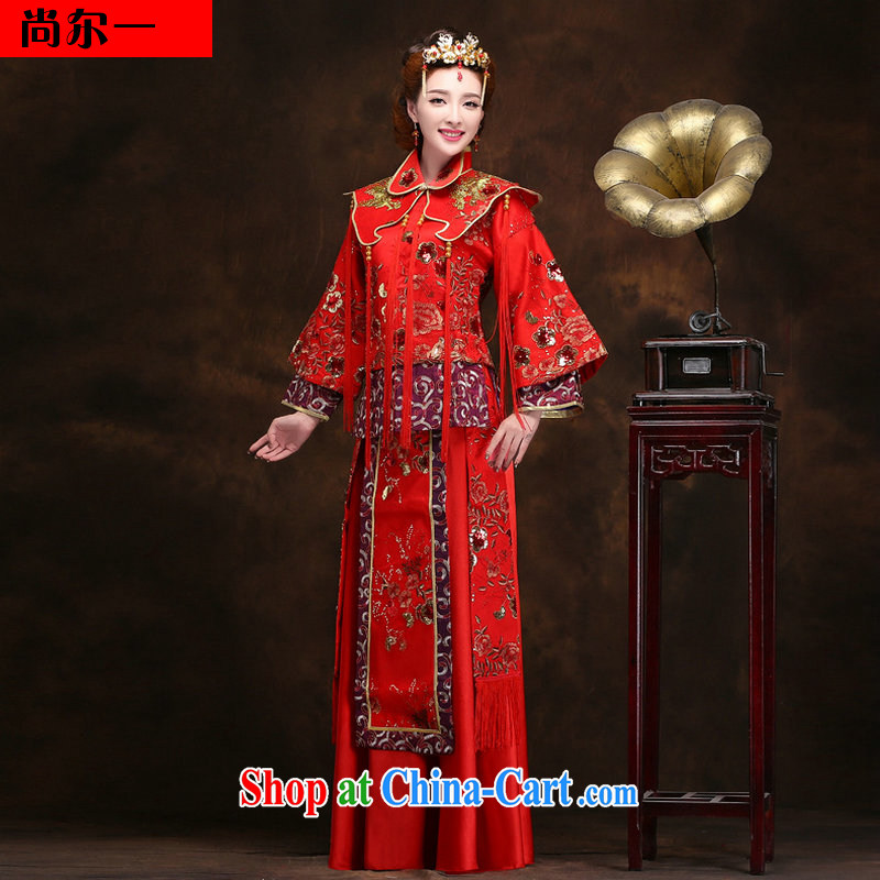 There's a phoenix of new Chinese Dress married Yi-hi use marriages red long retro winter 2094 YY red XXXL