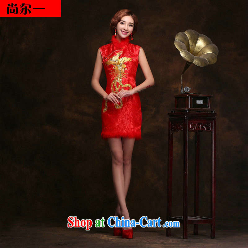 There is a red short improved cheongsam dress wedding dresses bridal toast dress Chinese Antique new stylish YY 2095 red XXXL
