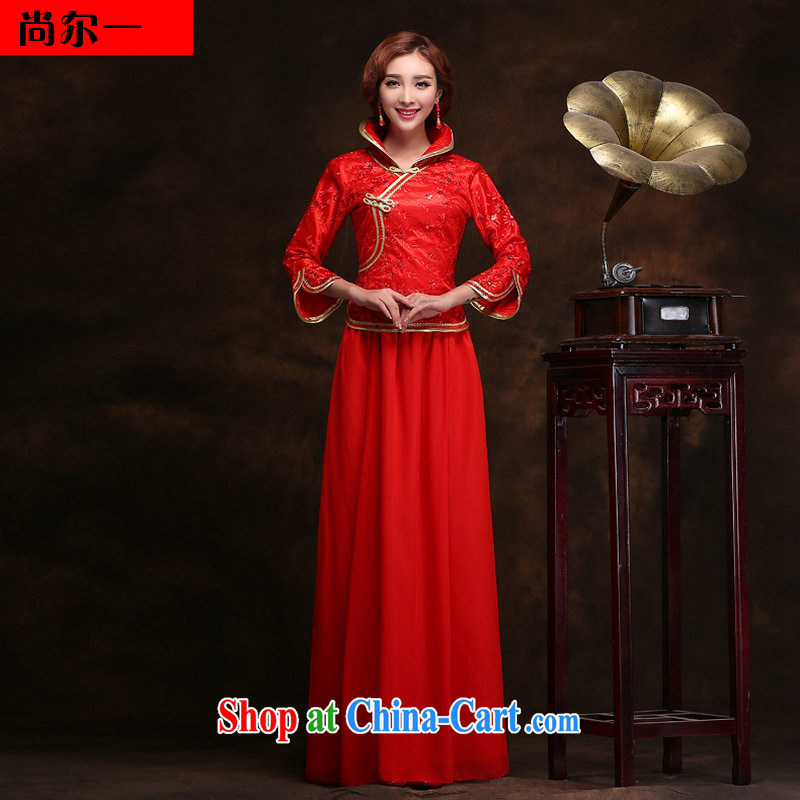 Still, 12,014 new winter wedding bride's toast clothing cheongsam dress improved beauty fashion long Chinese wedding dresses YY 2099 red XXL