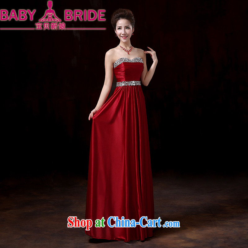 My dear bride's elegant style 2014 winter dresses, wipe it off his chest, long, red wine toast clothing stylish moderator good evening dress wine red XXL