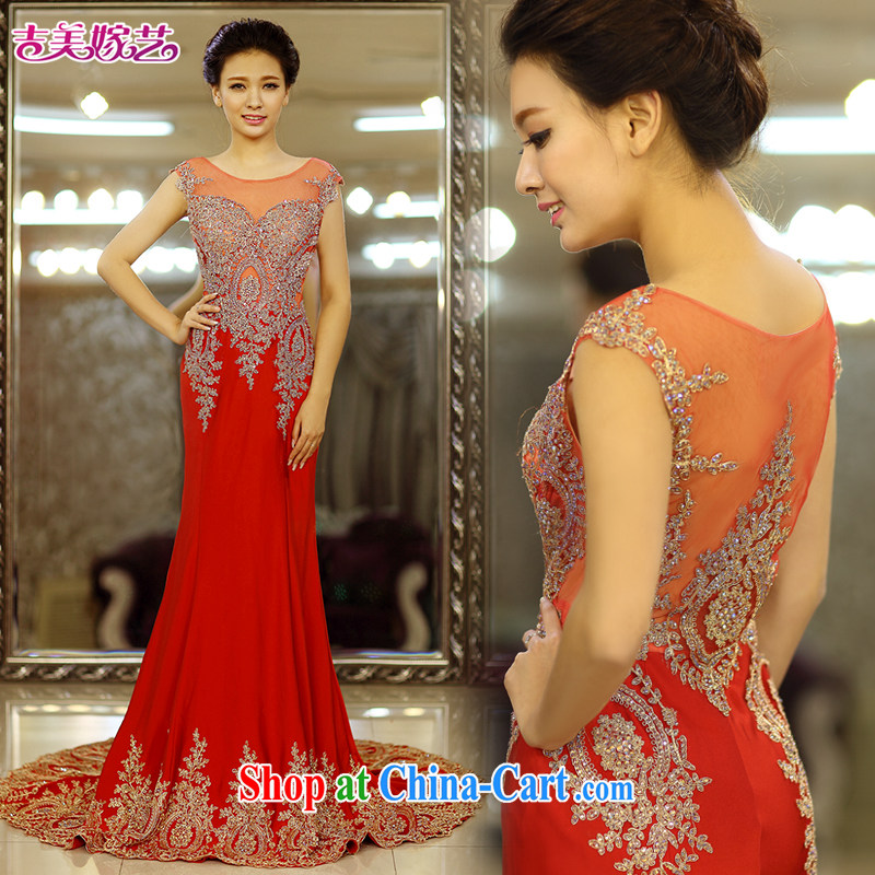 Jimmy married arts wedding dresses 2015 new Korean crowsfoot shoulders water drill tail 7663 red bridal gown tail XL