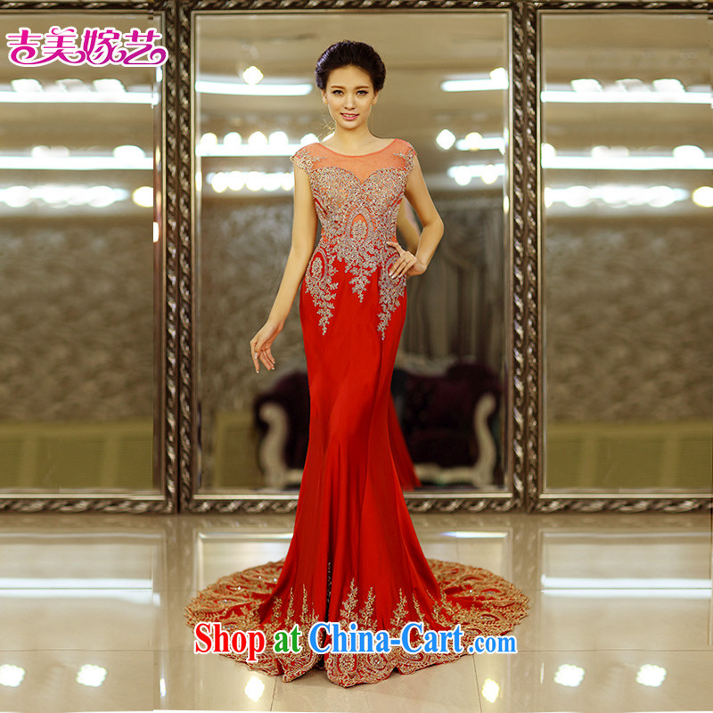 Jimmy married arts wedding dresses 2015 new Korean crowsfoot double-shoulder water drill tail 7663 red bridal gown tail XL, Jimmy married arts, online shopping