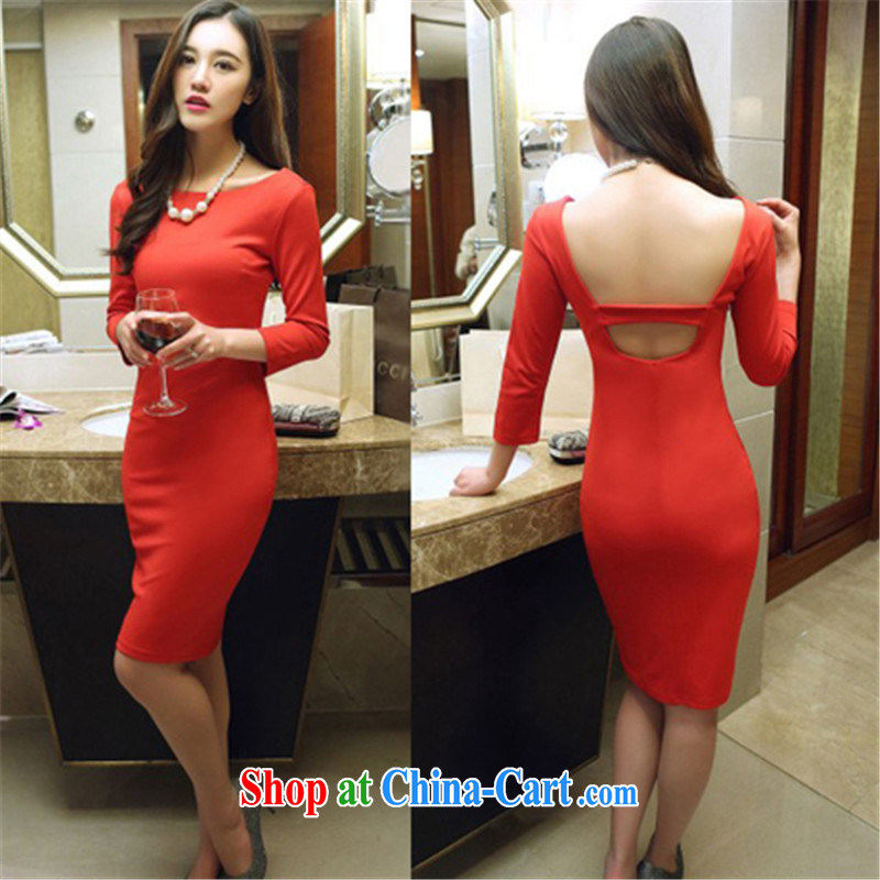 Connie, Texas real-time concept 2015 spring loaded new Korean night stores beauty aura back exposed long skirt package and dresses female Red L