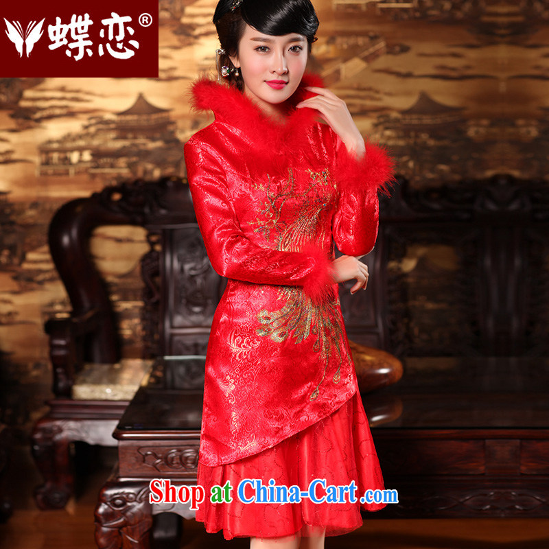 Butterfly Lovers 2015 spring new retro improved bridal dresses the liquor service red short wedding dress 49,159 red new pre-sale 7 Day Shipping XXL