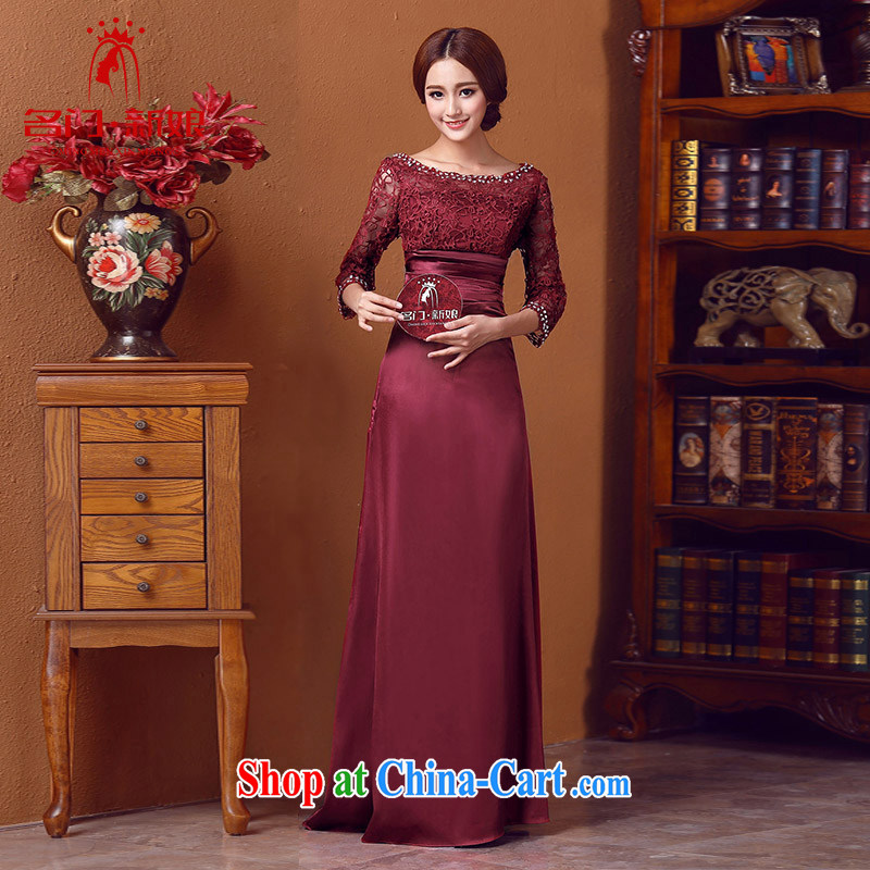 The bride's wedding dresses winter wedding dresses long sleeved gown bridal dresses serving dinner wine red 548 M