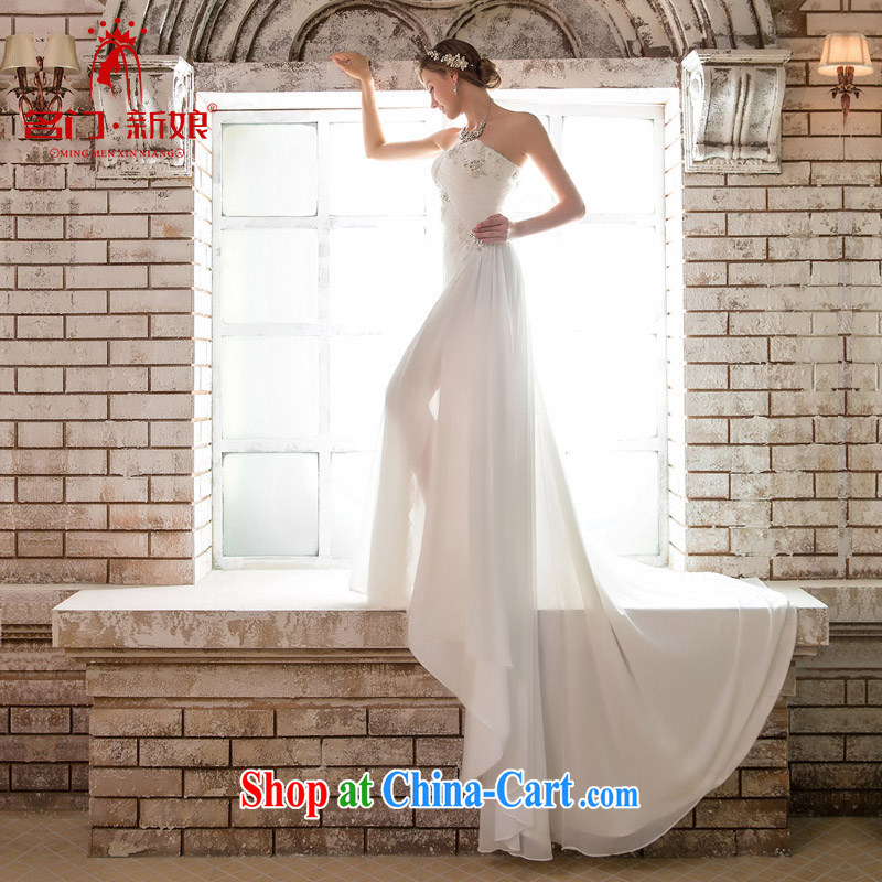 The bride's wedding dresses new 2015 original design and elegant dinner dress uniform tail 631 white L